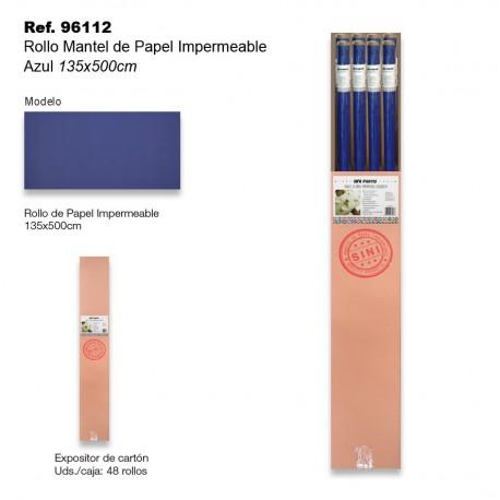 Rollo Mantel de Papel Impermeable 135x500cm Azul SINI