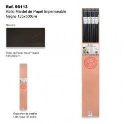 Rollo Mantel de Papel Impermeable 135x500cm Negro SINI