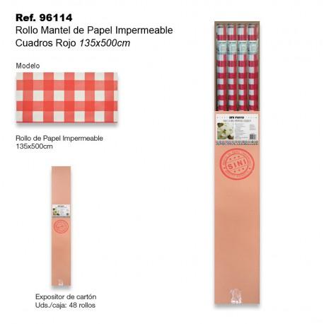 Rollo Mantel de Papel Impermeable 135x500cm Cuadros Rojo SINI