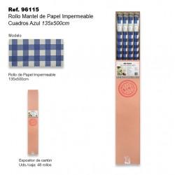 Rollo Mantel de Papel Impermeable 135x500cm Cuadros Azul SINI
