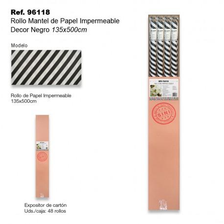 Rollo Mantel de Papel Impermeable 135x500cm Rayas Negro SINI