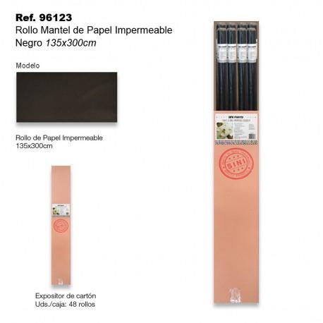Rollo Mantel de Papel Impermeable 135x300cm Negro SINI