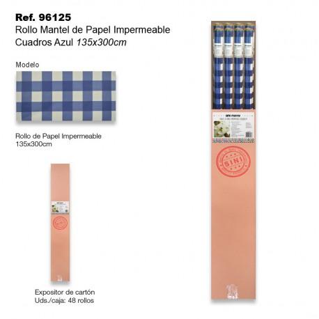 Rollo Mantel de Papel Impermeable 135x300cm Cuadros Azul SINI