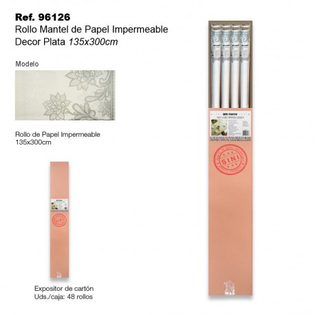 Rollo Mantel de Papel Impermeable 135x300cm Decor Plata SINI