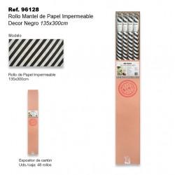 Rollo Mantel de Papel Impermeable 135x300cm Rayas Negro SINI