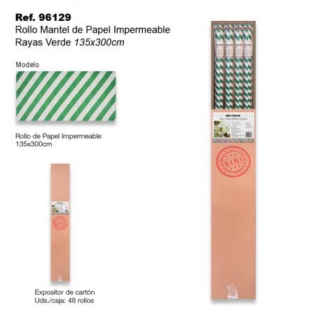 Rollo Mantel de Papel Impermeable 135x300cm Rayas Verde SINI