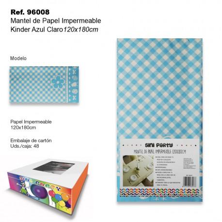 Mantel de Papel Impermeable 120x180cm Kinder Azul Claro SINI