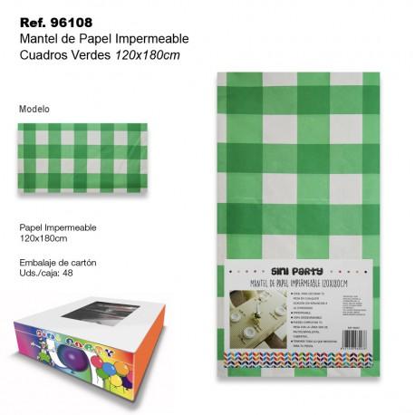 Mantel de Papel Impermeable 120x180cm Cuadros Verde SINI