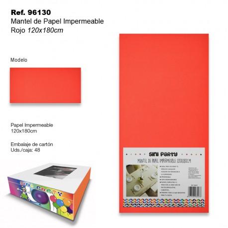 Mantel de Papel Impermeable 120x180cm Rojo SINI