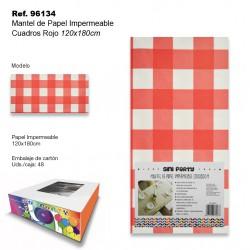 Mantel de Papel Impermeable 120x180cm Cuadros Rojo SINI