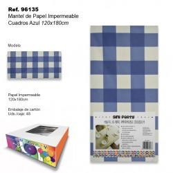 Mantel de Papel Impermeable 120x180cm Cuadros Azul SINI