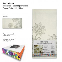 Mantel de Papel Impermeable 120x180cm Decor Plata SINI