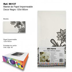 Mantel de Papel Impermeable 120x180cm Decor Negro SINI