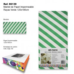 Mantel de Papel Impermeable 120x180cm Rayas Verde SINI