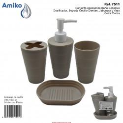 Conjunto Accesorios Baño Sensitive Piedra (Dosificador, Soporte Cepillo Dientes, Jabonera y Vaso)