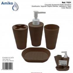 Conjunto Accesorios Baño  Sensitive Marrón (Dosificador, Soporte Cepillo Dientes, Jabonera y Vaso) Amiko