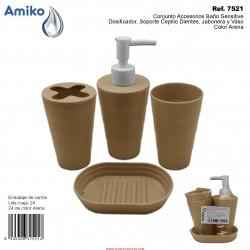 Conjunto Accesorios Baño Sensitive Arena (Dosificador, Soporte Cepillo Dientes, Jabonera y Vaso) Amiko