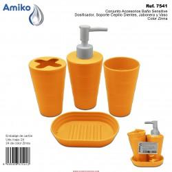 Conjunto Accesorios Baño Sensitive Zinna (Dosificador, Soporte Cepillo Dientes, Jabonera y Vaso) Amiko