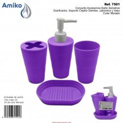 Conjunto Accesorios Baño Sensitive Morado (Dosificador, Soporte Cepillo Dientes, Jabonera y Vaso) Amiko