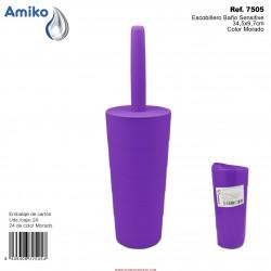 Escobillero Baño Sensitive Morado 34,5x9,7cm Amiko