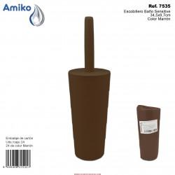 Escobillero Baño Sensitive Marrón 34,5x9,7cm Amiko