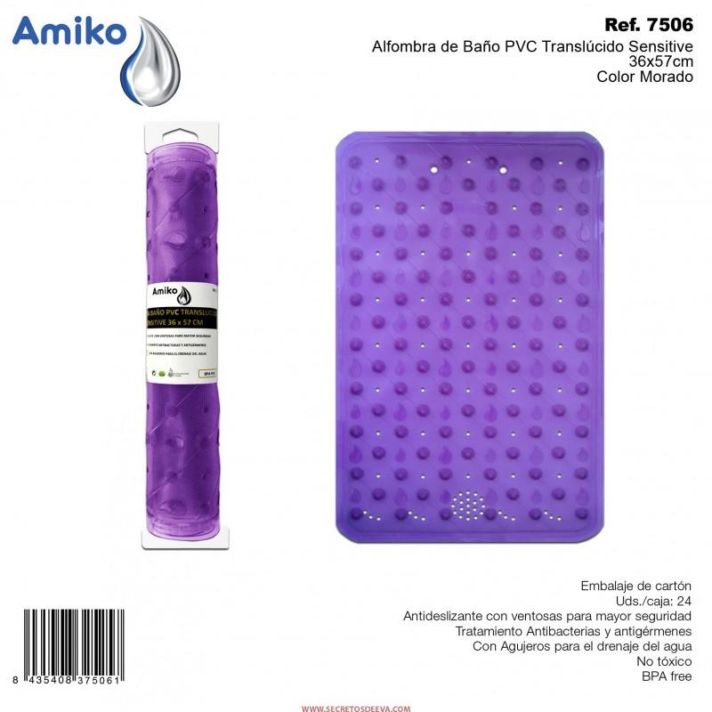 Alfombra de ba o pvc transl cido sensitive morado 36x57cm amiko comprar por internet en tienda - Alfombra de pvc ...