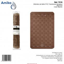 Alfombra de Baño PVC Translúcido Sensitive Marrón 36x57cm Amiko