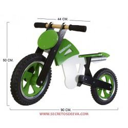 Moto de Madera Green/White/Black SCR BBW 205 Kiddimoto