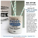 """Taza porcelana + Lámina A5 """"Tengo un padre de primera"""""""