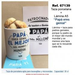 """Taza porcelana + Lámina A5 """"Papá eres genial"""""""