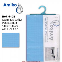 Cortina de Baño Poliester 140x180cm Azul claro