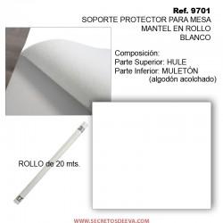 MULETÓN PROTECTOR PARA MESA EN ROLLO, BLANCO