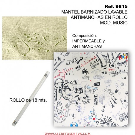 MANTEL BARNIZADO LAVABLE ANTIMANCHAS EN ROLLO MOD. MUSIC