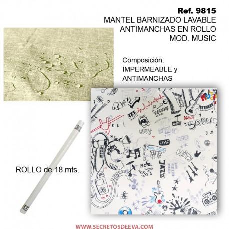 MANTEL BARNIZADO LAVABLE ANTIMANCHAS EN ROLLO MOD. MUSIC