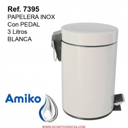 PAPELERA INOX  C/PEDAL 3L BLANCA