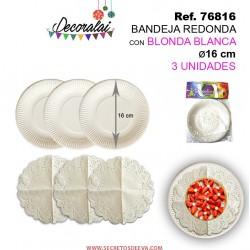Bandeja Redonda con Blonda Blanca 16cm 3unidades SINI