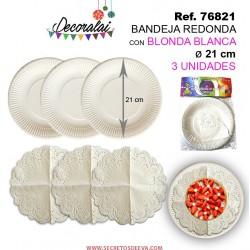 Bandeja Redonda con Blonda Blanca 21cm 3unidades SINI
