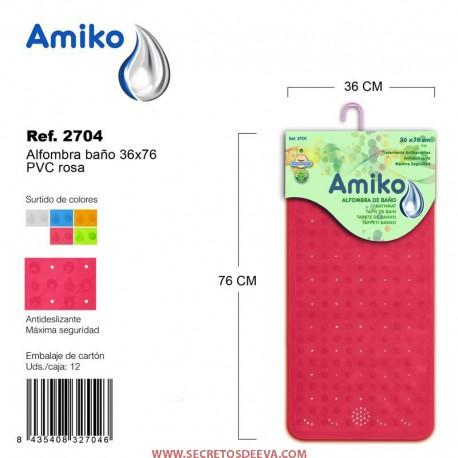 Alfombra Baño PVC Translucido 36x76cm Naranja Amiko