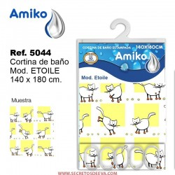 Cortina de Baño Estampada 140x180cm Modelo Etoile Amiko