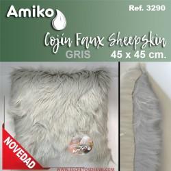 COJIN 45X45 CM. FAUX SHEEPSKIN GRIS