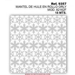 MANTEL DE HULE EN ROLLO ORLY MOD. 82162F PLATA NAVIDAD