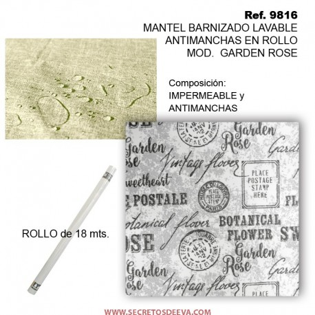 MANTEL BARNIZADO LAVABLE ANTIMANCHAS EN ROLLO MOD. GARDEN ROSE