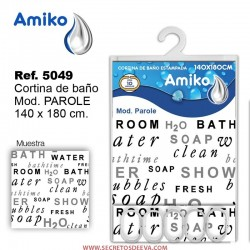 Cortina de Baño Estampada 140x180cm Modelo Mosaic Amiko