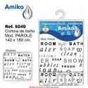 Cortina de Baño Estampada 140x180cm Modelo Parole Amiko