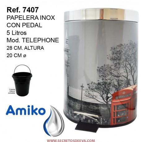 PAPELERA INOX CON PEDAL 5 LITROS TELEPHONE