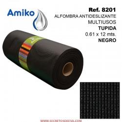 Alfombra Antideslizante Multiusos Tupida Negra 0.61x12M Amiko