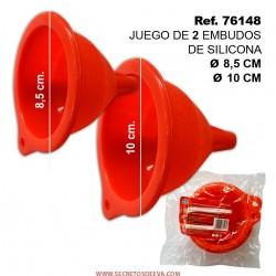 Juego de 2 Embudos Silicona de 8,5 y 10cm Diámetro SINI