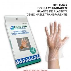GUANTE DE PLASTICO DESECHABLE TRANSPARENTE 25UDS