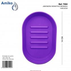 Jabonera Sensitive Morado 14x8,8cm Amiko