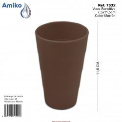 Vaso Sensitive Marrón 7,5x11,5cm Amiko